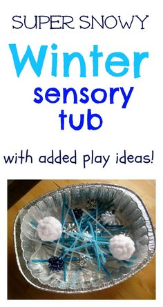 Super snowy winter sensory tub, plus extra play ideas   - Re-pinned by @PediaStaff – Please Visit http://ht.ly/63sNt for all our pediatric therapy pins