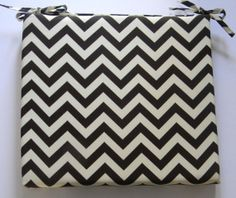 Items similar to Indoor / Outdoor Universal Foam Seat Cushion with ties - Brown and Ivory Chevron - Choose Size & Foam Thickness ~ or on Etsy Zig Zag Pattern, Chair Cushions, Indoor Outdoor, Chevron, Unique Jewelry, Handmade Gifts, Ties, Ivory, Community