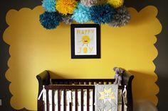 Tissue paper pom poms used for nursery decor...love!