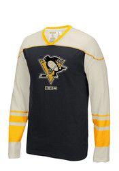 Pitt Penguins Mens Black CCM Applique Fashion Sweatshirt