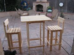 Diy - Plans To Make - Bar Table And Stool Set - Outdoor Furniture For Patio Lawn…
