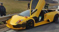 Lamborghini Murcielago Becomes One With The Guardrail In Boston