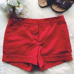 """🆑 Forever 21 Red Shorts Forever 21 Red Shorts -Hot bright red shorts. Pairs well with a crisp white button-down for a classy look. -Contoured waistband. Front with hook and button closure. Belt loops. Decorative back pockets. 4"""" inseam. -65% Polyester, 31% Rayon, 4% Spandex. Machine Wash. -Fits sizes 00-0. -Gently worn. 📷: inna_lala Forever 21 Shorts"""