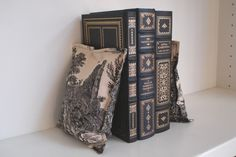 Beanbag Bookend Pair - Cream and Black Toile