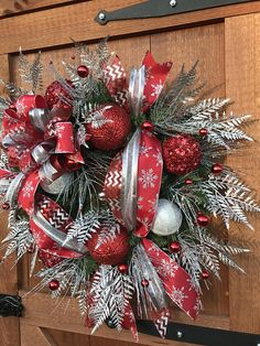 Christmas wreath red and silver christmas wreath Welcome wreath holiday wreath silver decor hostess Christmas Wreaths For Front Door, Valentine Day Wreaths, Outdoor Christmas Decorations, Holiday Wreaths, Tree Decorations, Holiday Decor, Valentines, Seasonal Decor, Silver Christmas