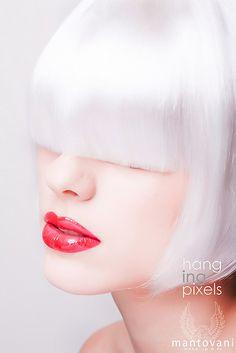 White hair bangs