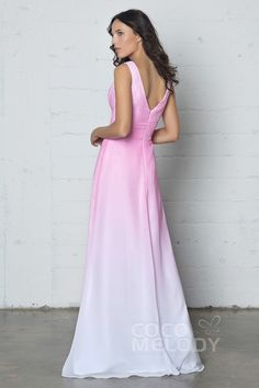 Charming Sheath-Column Cowl Natural Floor Length Ombre Chiffon Sleeveless Zipper COZF17009Cocomelody#prom dress#party#dresses#