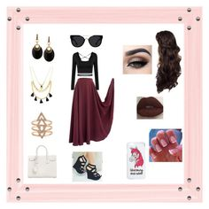 """""""Cranberry Date"""" by roxy-crushlings ❤ liked on Polyvore featuring Forever 21, Alexis Bittar, Yves Saint Laurent, Quay and Miss Selfridge"""