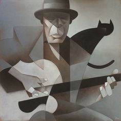 John Lee Hooker Oil on Canvas, 100x100 cm
