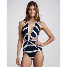Women's Oscar de la Renta Striped Twist-Front One-Piece Swimsuit by None