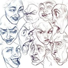 Some expressions sketches starting up classes again so I'll be awol for the next few days ✌️  .  #art #expressions #digitalart #caricature #artimprovement #characterdesign #illustration #animation