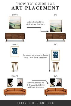 "4 mistakes you might be making when hanging art. A how to guide for artwork placement - how high to hang art and how far apart. Interior Design art hanging rules by Refined Design. diy Interior design A ""HOW TO"" GUIDE FOR ART PLACEMENT Home Design, Interior Design Guide, Interior Design Living Room, Living Room Decor, Design Art, Design Ideas, Design Styles, Interior Design Principles, How To Interior Design A House"