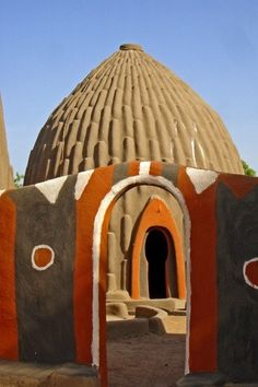 Traditional Obus house & entrance way in Cameroon, West Africa Out Of Africa, West Africa, Kenya Africa, Vernacular Architecture, Art And Architecture, Organic Architecture, African Culture, African Art, African House