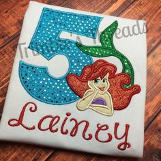 The Little Mermaid Birthday Shirt Disney Princess Ariel By TrimblesThreads