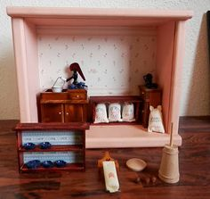 progress on my Pioneer Kitchen Shadow Box Favorite Christmas Songs, Home Management Binder, Blog Planner, Shadow Box, Diaries, Miniatures, Shelves, Kitchen, Projects