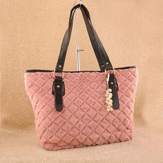 Eriko, ladies fashion pink satchel #handbag. Pink #satchel design, top double handles, interior features center divider zip compartment, 1 zip pocket, 1 mobile phone pocket & ID pocket, zip closure from top, external knitting wool style design. $42.50 - Out of stock