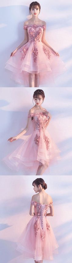 Cute pink lace tulle short prom dress, pink party dress, pink tulle homecoming dress