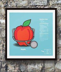 Smart Kitchen Food Facts Illustrated Apple  12x12 by SheepSmarts, $12.00 Smart Kitchen, Food Facts, Kitchen Decor, Kitchen Ideas, Triomphe, Nutrition, Apple, Illustration, Lifestyle