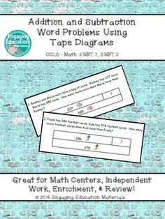 Tape Diagrams are used to help students visualize the whole, part, and part to determine which operation is needed to solve each word problem.