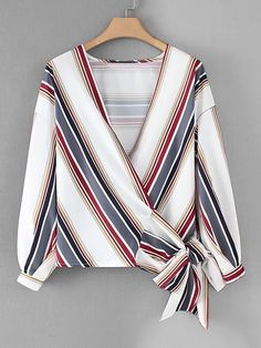 To find out about the Drop Shoulder Striped Wrap Blouse at SHEIN, part of our latest Blouses ready to shop online today! Wrap Shirt, Wrap Blouse, Plus Size Batwing Tops, African Blouses, Crop Top Outfits, European Fashion, Beautiful Outfits, Chiffon Tops, Blouses For Women