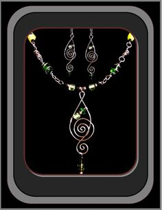 HoldiaySaleNecklace & Earrings Set Music  by RosesWireArtJewelrY, $59.00