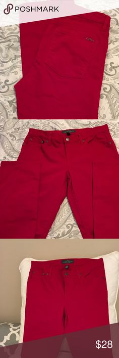 Ralph Lauren Red Hot Jeans!  Size 8 Straight Leg Super cute red jeans by Ralph Lauren - Size 8  Only worn 1 time - like new condition Ralph Lauren Jeans Straight Leg