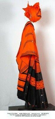 Xhosa inspired dress Nocwaka Mazaleni Textiles African Fashion Ankara, African Wear, African Attire, African Traditional Dresses, Traditional Outfits, Xhosa Attire, African Fabric, Beautiful Legs, Fit And Flare