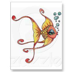 Goldfish+Cartoon+Art+by+Lisa+Humbyrd+Cute+Drawing+Post+Cards