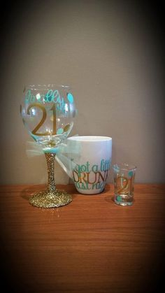 "Finally 21 Birthday Glitter Stemmed Wine Glass, Matching 21st Birthday Shot Glass AND ""I got a little DRUNK last night"" Coffee Mug 3-pc SET by ByJusteenCrafts on Etsy https://www.etsy.com/listing/264667495/finally-21-birthday-glitter-stemmed-wine"