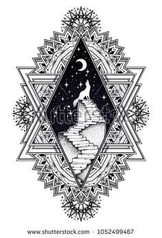 Decorative ornate vintage frame with abandoned ruin stairway to the night, with a wolf howling at moon sky. Symbol of imagination, lonelyness, dreams. Surreal tattoo. Isolated vector illustration - comprar este(a) imagem vetorial de banco no Shutterstock e encontrar outras imagens.