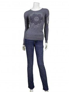 Pullover mit Spitze, grau | Memory & Co