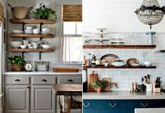 Decoração de cozinha com prateleiras de madeira, louças, parede de tijolinhos, armário azul e plantas.  #decoracao #decor #casadevalentina #cozinha #kitchen #rustico #rustic