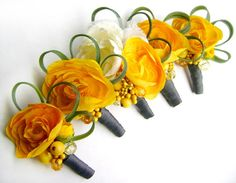 Yellow and Grey Ranunculus Boutonnieres  Set by ScatteredStardust, $65.00