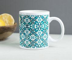 Blue flower mug large pretty mug flowers mug by DoodlePippin
