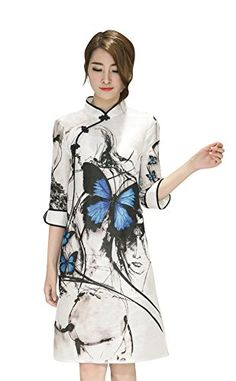 a55de6804d6784 Shineflow Women 3 4 Sleeve Printed Organza Chinese Collar Qipao Cheongsam  Midi Cocktail Dress (S) at Amazon Women s Clothing store