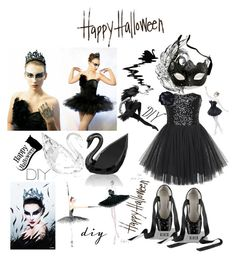"""DIY Halloween Costume"" by hilaly05 ❤ liked on Polyvore featuring American Apparel, Black Swan, Swarovski, Chapeaux Artisanaux de Gris, Masquerade, Rodarte and DIYHalloween"