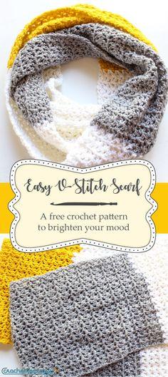 Easy V stitch crochet scarf, free pattern! #crochetinfinityscarf #beginnercrochetpattern V Stitch Crochet, Col Crochet, Crochet Scarf Easy, Crochet Gratis, Crochet Beanie, Crochet Scarves, Crochet Shawl, Free Crochet, Crocheted Scarves Free Patterns