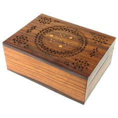 Handmade Carved Box - Floral Design with Brass Inlay Handmade and Fair Trade
