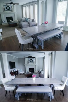Our DIY Farmhouse Table! Built in one weekend from Ana White Plans & then stained it gray! Love our mix & match chairs too! Little Blonde Mom Blog #homedecor #farmhousedecor #fixerupper #farmhousetable #diy