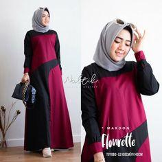 Flonrette Dress Col : Maroon Mat : Moscrepe kancing belakang Uk : All . Abaya Fashion, Muslim Fashion, Fashion Dresses, Motif Photo, Kebaya Muslim, Hijab Fashion Inspiration, Casual Hijab Outfit, Stylish, Womens Fashion