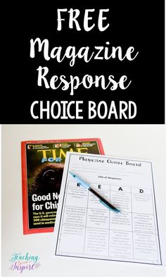 Free magazine choice board on this post with NINE other reading center ideas.