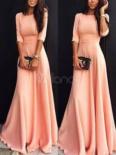 online Modest Bridesmaid Dresses with Sleeves - Coral Pink Long Prom Dresses Cheap Modest With Half Sleeves A-line Floor Length Evening Party Guests Dress Bridesmaid Gowns Modest Bridesmaid Dresses, Prom Dresses, Formal Dresses, Dress Prom, Chiffon Dresses, Modest Long Dresses, Bodycon Dress, Chiffon Maxi, Bridesmaids