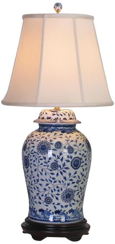 Blue and White Floral Porcelain Temple Jar Table Lamp -