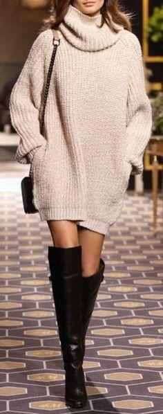 Sweater Dress + Thigh High Boots