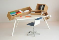 Overdose Desk by Bram Boo is a unique and quirky home office desk, with 4 intentionally skewed storage compartments for a unique aesthetic. Carte Blanche by Bulo. Table Furniture, Office Furniture, Cool Furniture, Furniture Design, Design Desk, Furniture Market, Design Lab, Furniture Online, Design Reference