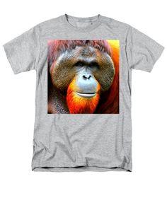 Sumatran Orangutan Men's T-Shirt (Regular Fit) featuring the mixed media Sumatran Orangutan Male by The Griffin Passant Streetworks