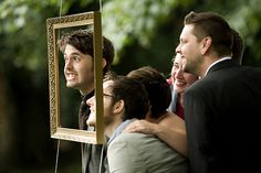 Hanging a frame outside so people can take funny/sweet/silly pics at the wedding!  -- Lucy & Dan's vintage vegan Buddhist wedding | Offbeat Bride