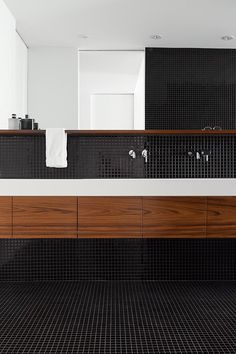 la SHED | Chabot; bathroom, black mosaic tile with white and timber                                                                                                                                                                                 More