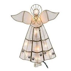 Lighted Capiz Angel Christmas Tree Topper This capiz angel tree topper is a beautiful, festive way to add to the décor of your Chri. Angel Christmas Tree Topper, Christmas Angels, Christmas Lights, Light Angel, Silver Wings, Religious Gifts, Stained Glass Art, Decorative Bells, Christmas Fairy Lights