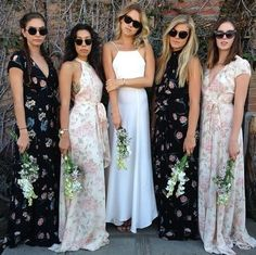 5 Style Lessons For Mismatched Bridesmaid Dresses Printed Bridesmaid Dresses, Mismatched Bridesmaid Dresses, Wedding Bridesmaids, Wedding Dresses, Floral Bridesmaids, Wedding Attire, 2017 Wedding Trends, Wedding 2017, Dream Wedding